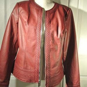 Burgandy Faux Leather Jacket